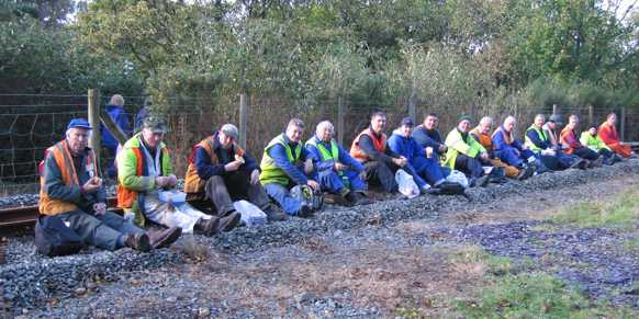 Lunchtime for our Volunteer track workers (Photo: John Williams)